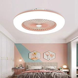 Lámpara y ventilador en un conjunto. luz tricolor con mando a distancia varias colores para elegir tres tonos de velocidad de viento (Rosa)