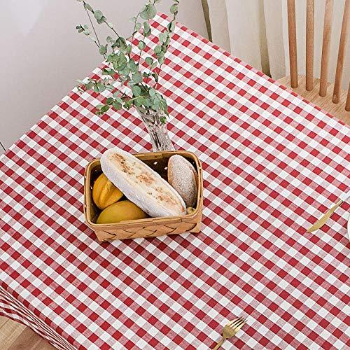 Yinaa Mantel de Mesa Rectangular para Cocina Lino de Algodón Grueso y Duradero La Última Tecnología Lavable Colores Firmes Rojo 90×90cm