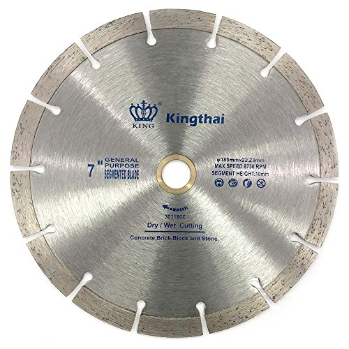 Kingthai 7 Inch Wet Dry Segmented Cutting Concrete Diamond Saw Blade for Masonry with 7/8-5/8 Inch Arbor