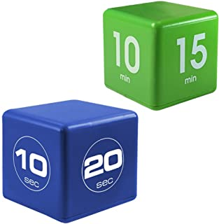 Miracle TimeCube Exercise Timer for Fitness, HIIT and Workout Routines, 2 Piece Combo - 10, 20, 30, 60 Seconds and 1,5,10,15 Minutes