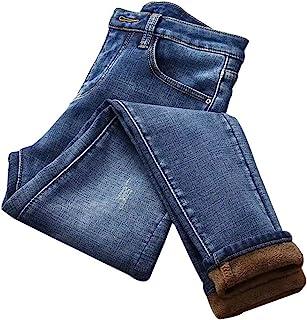Fnsky Jeans delgados para mujer, de invierno, de terciopelo cálido, de cintura alta, con forro de felpa, pantalones de mez...