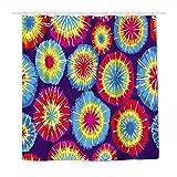 Duschvorhang, abstrakter Regenbogen-Batik-Effekt, wasserdichter Polyester-Stoff, Duschvorhänge für Badezimmer mit 12 langlebigen Kunststoffhaken, 183 x 183 cm