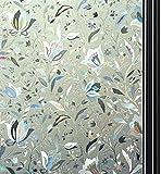 Quaslen Privacy Window Film Decorative Rainbow Glass Film Window Covering Static Window Clings 3D Tulip Pattern Decorative Non Adhesive Anti UV 35.4x78.7inch (90x200cm)