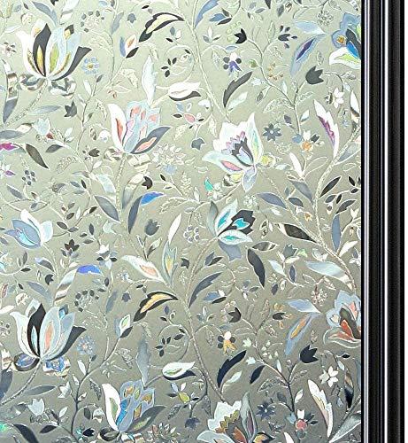 Qualsen 3D Vinilo de Ventana Pegatina Vinilos para Ventanas Protección contra los Rayos UV y la estática Aplicable a Cocina Oficina Salón, Tulip (60 x 300 cm)