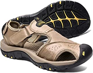 visionreast Mens Leather Sandals Outdoor Hiking Sandals Waterproof Athletic Sports Sandals Fisherman Beach Shoes Closed Toe Water Sandals