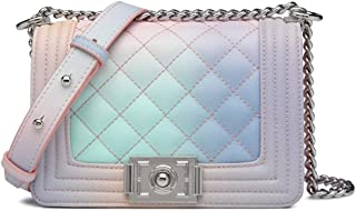 Fashion Crossbody Bag for Women and Girls Quilted Chain Shoulder Bag PU Leather Messager Bag with Adjustable Chain Strap