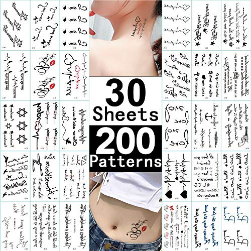 Tiny Word Temporary Tattoos 30 Sheets Fake Black Tattoo Stickers for Women Men kids Boys Girls Adults Small Temp Tattoo Paper for Body Art Hand Face Arm Leg Neck Decorations DIY Beauty Fashion Designs