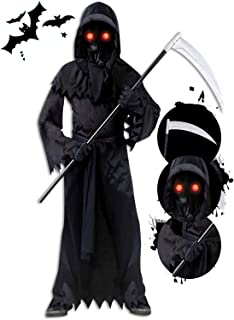 Grim Reaper Halloween Costume for Kids, Scream Costume with Glowing Up Eyes for Boys & Girls