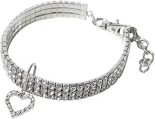 Wakeu Diamond Heart Rhinestone Crystal Rhinestone Pendant Pearl Collars Necklace for Small Dog Girl