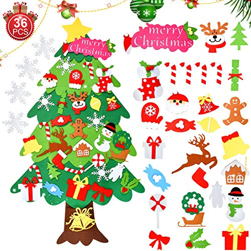 runhua Árbol de Navidad de Fieltro, 3.7ft El árbol de Navidad del Fieltro con 36 Unids Adornos, DIY Navidad Decoración Colgante para Niños, Regalos Colgantes de Navidad de la Pared