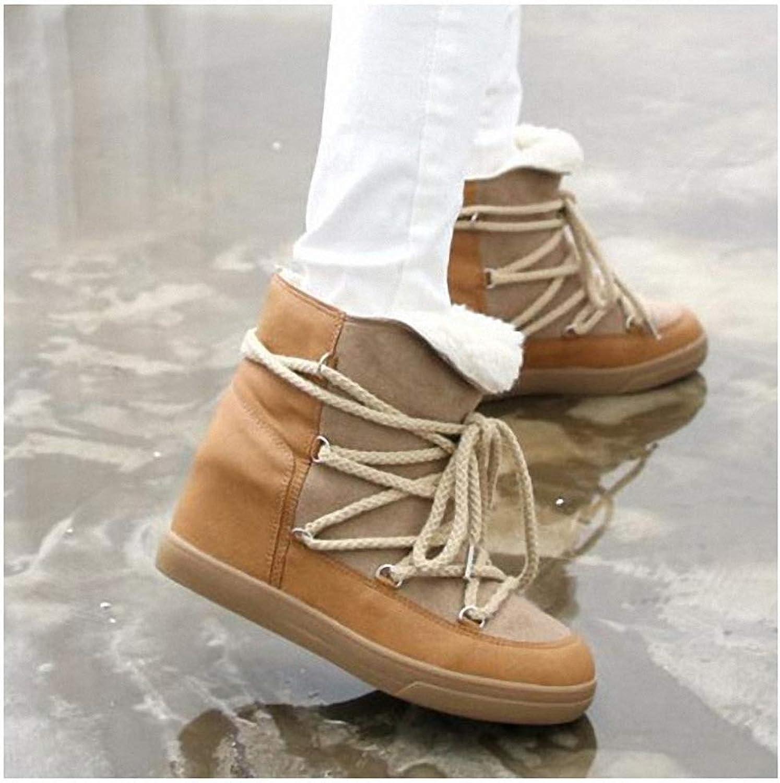 kvinnor s backpacking stövlar Winter Winter Winter skor for kvinnor Lace -up stövlar Woherrar hög klack Elevator skor Ankle stövlar Warm Plush Snow stövlar  billig försäljning