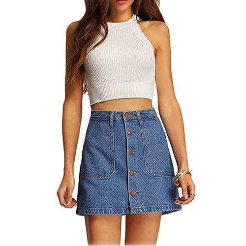 096f84da7 Choies Women's Blue High Waist Button Denim Mini Skirt with Side Pockets
