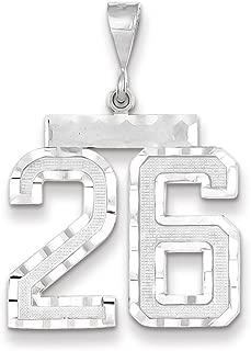 14K White Gold Large Shiny-Cut Number 26 Pendant