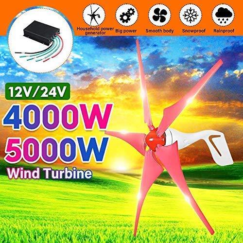 YUYUKUAILAI 4000W / 5000W Windgenerator 5 Windklingen Generator 12 / 24V Horizontal-Windenergieanlagen für Haushalt Straßenbeleuchtung + Laderegler, 12V, 5000W,5000W