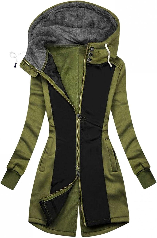 FABIURT Sweatshirt for Women Zip Up,Womens Fashion Color Block Hoodie Long Sleeve Hooded Sweatshirt Pockets Jacket Coat