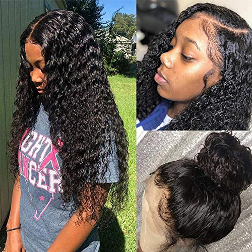 100% Human Hair Wigs for Black Women Natural Water Wave Lace Front Wigs Human Hair with Baby Hair Pre Plucked Ear to Ear 13x4 Lace Frontal Wigs Brazilian Virgin Curly Hair Easy to Manage Wigs 22 Inch