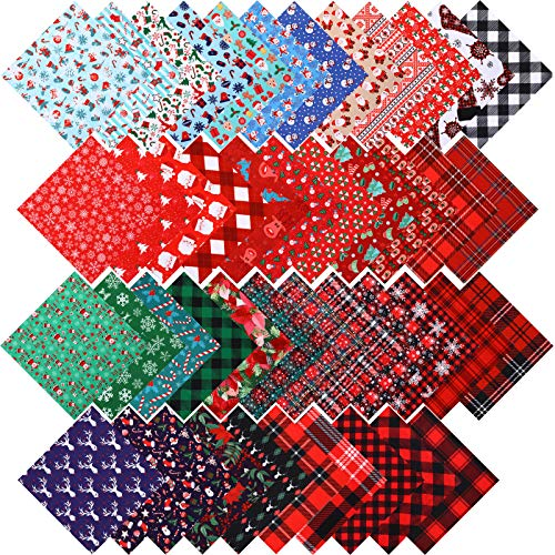 45 Pieces Christmas Fabric Bundles Sewing Craft Square Patchwork Precut Printed Fabric Scraps Quilting Sewing Polyester Fabric for DIY Christmas Stocking Wreath Doll Dress Apron Supply (10 x 10 Inch)
