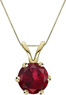 Diamond Wish 14k Gold 6 Prong Basket Ruby Gemstone Solitaire Pendant Necklace (1/5-1 cttw) 18