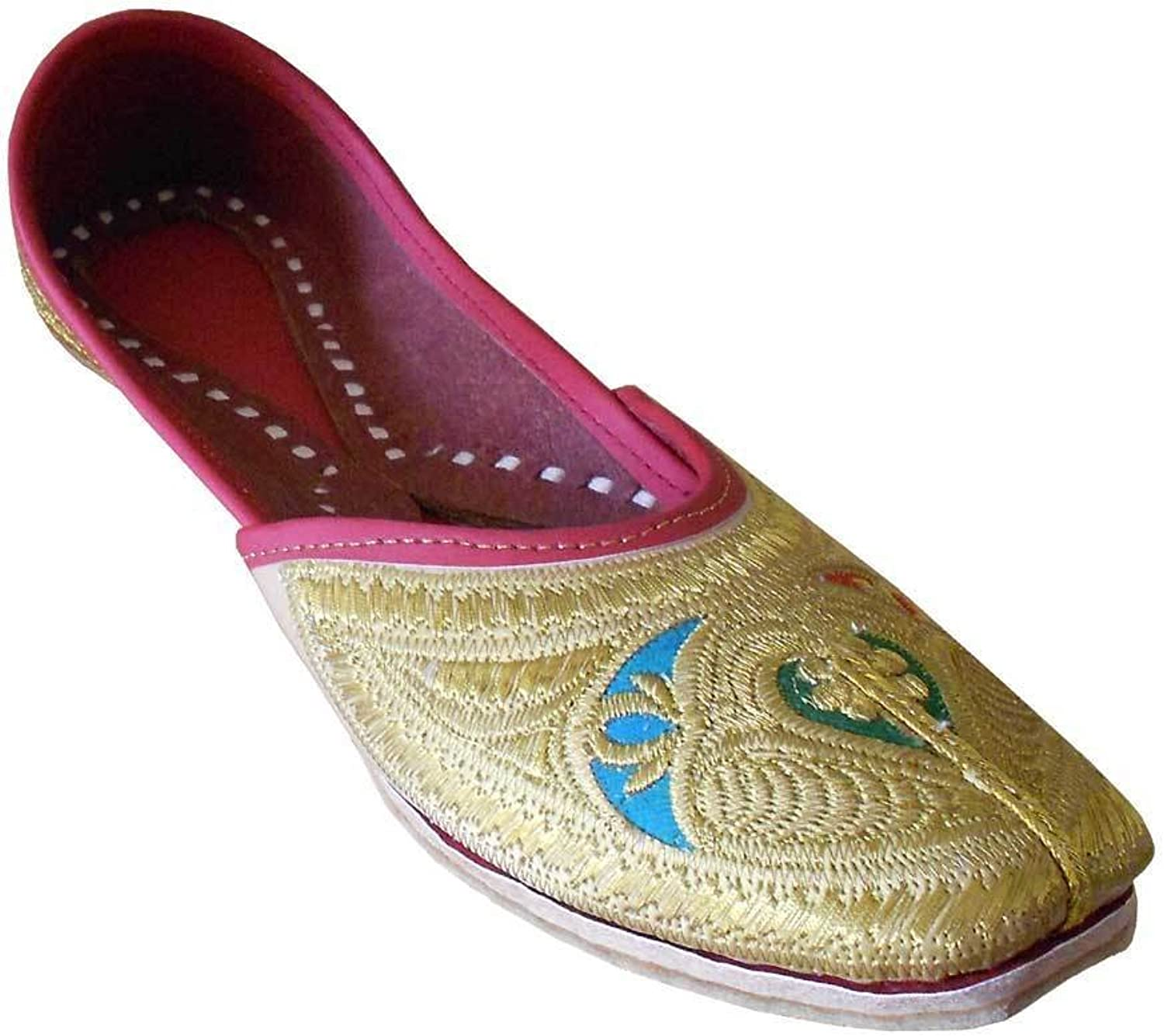 Kalra Creations Women's Traditonal Indian Faux Leather with Embroidery Groom shoes