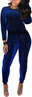 Akmipoem Women's Sequin 2 Piece Outfit Long Sleeve Sweatshirt Pullover Tops and Bodycon Pants Set