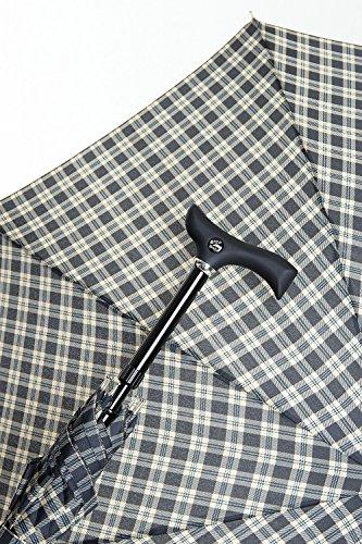 Stützschirm STEPBRELLA Gehstock höhenverstellbar, handsympathischer Fritzgriff, Automatiköffnung,Schirmgestell aus 8 stabilen Streben,edles Schirmdach aus Stoff, Karo schwarz/blau.