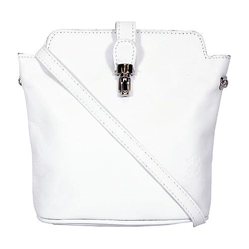 Genuine Italian Soft Leather Small Cross Body Handbag in White 8672f8690