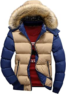 Men Long Sleeve Puffer Coat Windproof Quilted Jacket Fur Hoodies Puffer Down Jacket