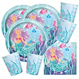 48-teiliges Party-Set Meerjungfrau (unique) - Teller Becher Servietten für 16 Kinder