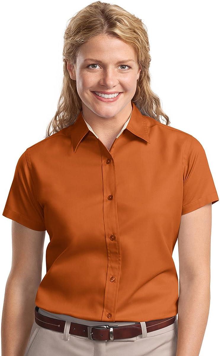 Port Authority Women's Wrinkle Resistance Shirt (1X, Texas Orange/Light Stone)
