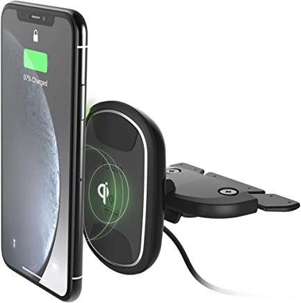 iOttie iTap 2 Wireless Magnetic Qi Wireless Charging CD Slot Mount || Compatible with iPhone Xs XR X Max Samsung S10 S9 + Smartphones | + Dual Car Charge