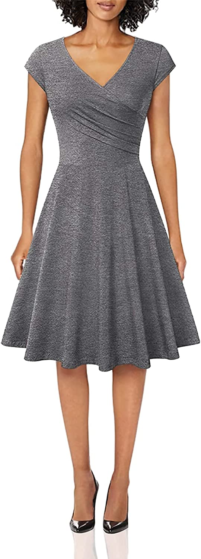 OMZIN Women's Wrap V Neck Cap Half Sleeve Vintage Casual Work Party Tea Swing Dress