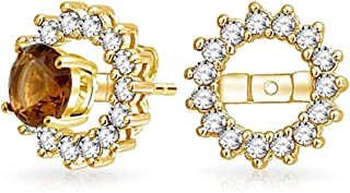 Cubic Zirconia CZ Halo Earrings Jacket For Studs For Women 14K Gold Plated 925 Sterling Silver (Earrings Not Included)