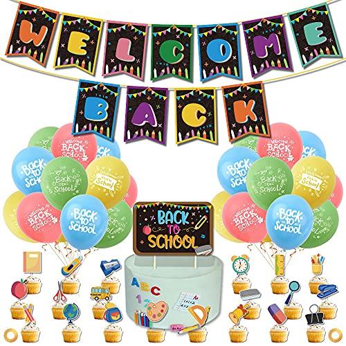 Bienvenido a la decoración de fiestas, bienvenida a la escuela, suministros de fiesta, regreso a la escuela, globos de látex para el primer día de escuela, aula