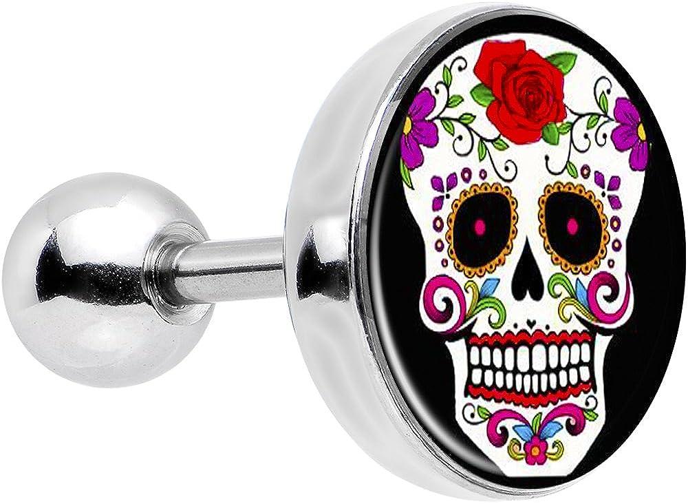Body Candy Stainless Steel Flowering White Sugar Skull Tragus Cartilage Earring 16 Gauge 1/4