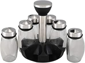 7Pcs/Set Rotating Stainless Steel Cruet Condiment Spice Jars Set Salt and Pepper Shakers Seasoning Kitchen Tool for Kitche...