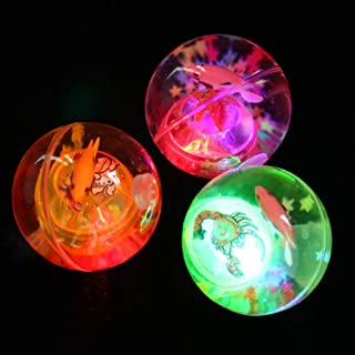 Kekailu Glowing Ball Toy,Cartoon Fish Inside Auto Vibration Switch Glowing Elastic Ball Kids Toy Gift,Random Color