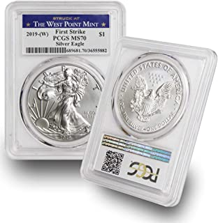 2019-(W) American Silver Eagle $1 MS70 PCGS First Strike West Point Label .999 Fine Silver US Mint