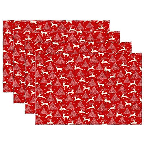 Set of 6, Heat Resistant Stain Insulation Place Mats, Anti-Skid Washable Canvas Table Placemats, Kitchen Table Mats, 12 X 18 Inch, Running Reindeer and Christmas Trees