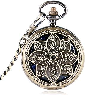 YXZQ Pocket Watch, Elegant Lotus Flower Mechanical Hollow Bronze Copper Hand winding Women Watch Trendy Stylish Exquisite Pendant