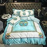 juegos de sábanas de 80,Summer Cool Camas transpirables, Minimalistic European Gran versión del requisito impreso Down Quilt Set, pero conjuntos de cinturón de cama de cama doble, regalo de cuatro pi
