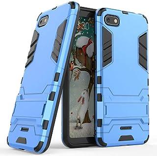 MaiJin Funda para Xiaomi Redmi 6A (5,45 Pulgadas) 2 en 1 Híbrida Rugged Armor Case Choque Absorción Protección Dual Layer Bumper Carcasa con Pata de Cabra (Azul)