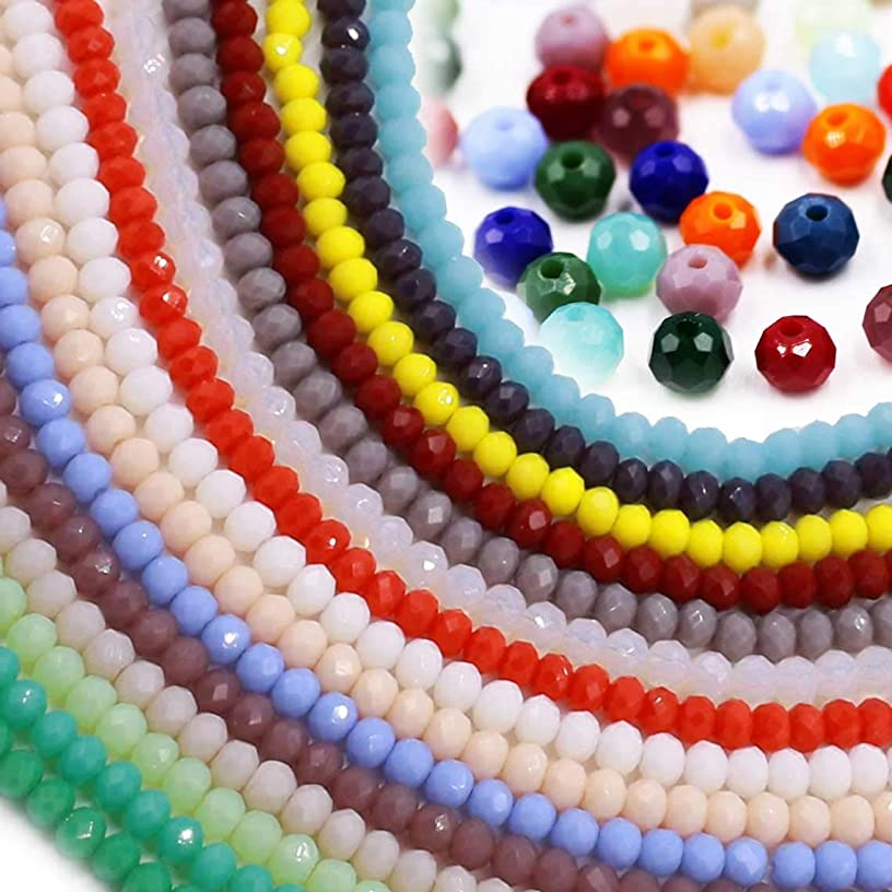 Mixed Color Wholesale Porcelain Crystal Glass Beads Strand Spacer Beads Faceted Briolette Round Rondelle Shape Assorted Color with Free Crystal Line for Jewelry Making (15 Colors,2100pcs)