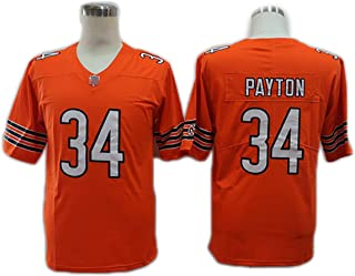 WQJIE Bears # 34 Payton Rugby Jersey, Legend Training Competition for Sports Embroidery Fast Drying Breathable-Orange-L