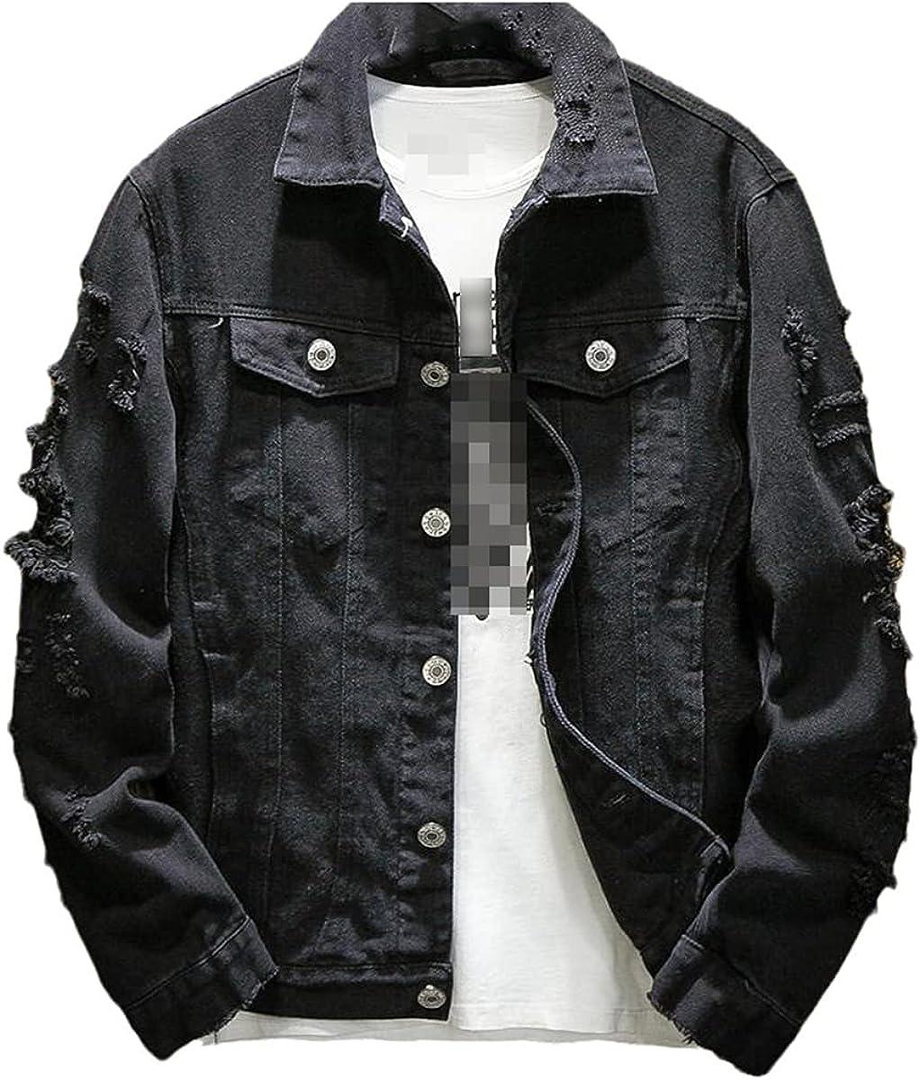 Fall Ripped Denim Jacket Men's Jacket Slim Solid Casual Jacket Cotton Large Size Hip Hop Jeans Jacket