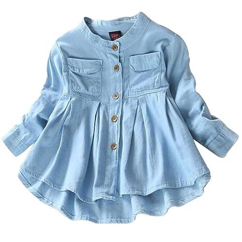 05fb7ef3cc4 BANGELY Kids Baby Girls Ruffled Hem Denim T Shirt Tops Long Sleeve Casual  Princess Blouses