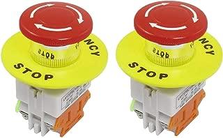 JMAF 2 Pcs Red Mushroom Cap 1NO 1NC DPST Emergency Stop Push Button Switch AC 660V 10A