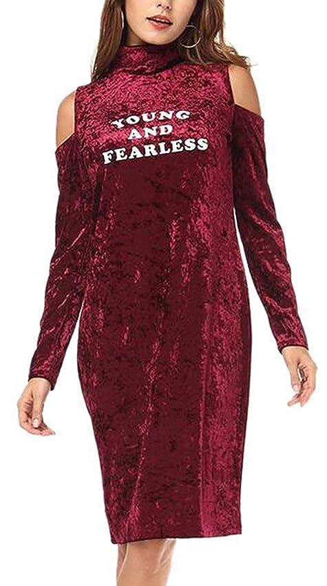 聡明ナイトスポットオーバーヘッド女性タートルネックコールドショルダー長袖ベルベットボディコンミニドレス Wine Red Small