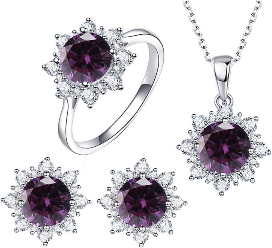 MileHouse prettDliJUN Women Snowflake Shape Jewelry Set of Cubic Zirconia   Pendant Necklace,Stud Earrings,Finger Ring for Valentines Day Christmas Jewelry Set Purple US 7