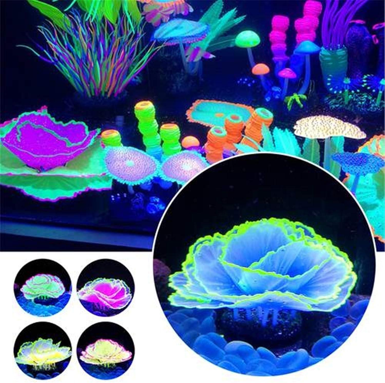 Glow in The Dark Aquarium Decor Ornament Silicone Plant Fish Tank Decor,Sets(5pcs)
