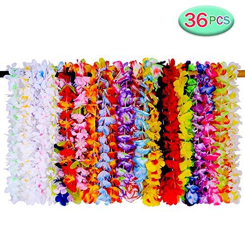 SIROD 36 Stück Hawaiikette Deko Blumenketten Hawaiian Leis Halskette Tropischen Luau Hawaii Party Favors für Hawaii Partydekorationen Strand Themenparty
